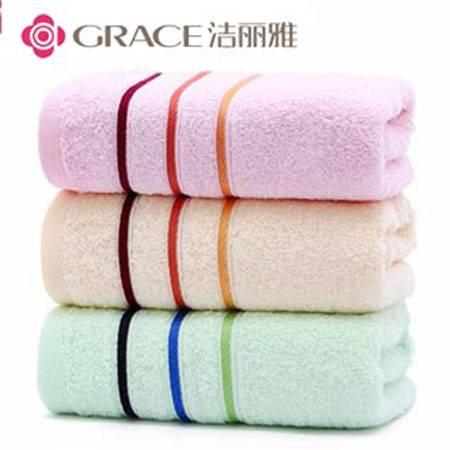 洁丽雅毛巾纯棉强吸水素色大毛巾柔软吸水加厚3条装 6443颜色随机发送