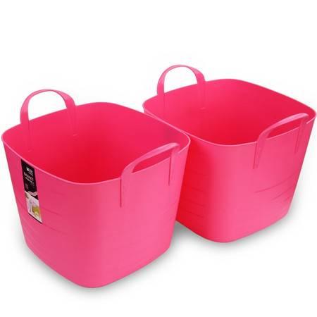 茶花 柔软方形收纳筐收纳篮2支装/颜色随机发送
